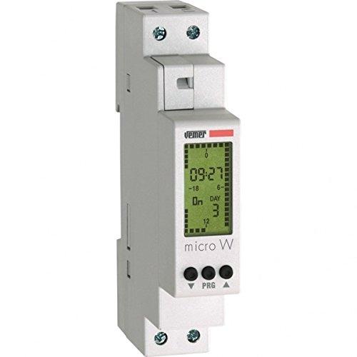 Vemer VE758200 Micro W Interrupteur horaire numérique avec Programmation hebdomadaire de Barre Din, Gris Clair