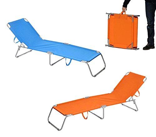 2309 Silla plegable con respaldo ajustable para playa o jardín - Azul