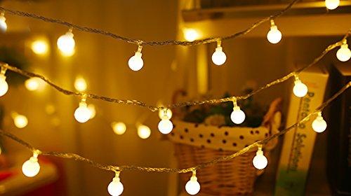 Luzes de corda para ambientes externos da Justdolfe, mini bola em formato de bola, luz noturna, moderna, alimentada por bateria, LED, cordão de lâmpada, 50 m, 40 cabeças