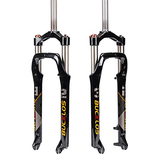 BUCKLOS 【UK Stock】 26 * 4.0 inch Fat Tire MTB Suspension Fork, 100mm Travel Spacing Hub 135mm 1 1/8 Straight Tube Manual Lockout 9mm QR Oil Spring Front Forks, fit Snow Beach Mountain Bike