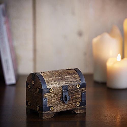 Casa Vivente Holztruhe – Bauernkasse – Schatztruhe – Schmuckkästchen – Spardose – Aufbewahrungsbox aus Holz – Klein – 10 cm x 7 cm x 8,5 cm (Dunkel – Klein) – Verpackung für Geldgeschenke - 4