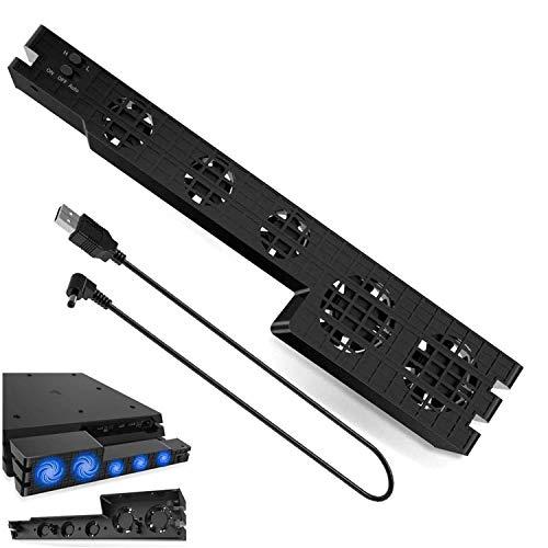 ICQUANZX Dispositivo di Raffreddamento PS4 PRO, Ventola di Raffreddamento Esterna Super Turbo a 5 ventole USB con Cavo USB Nero per Un Comfort con la Console di Gioco Sony Playstation 4 PRO (Nero)