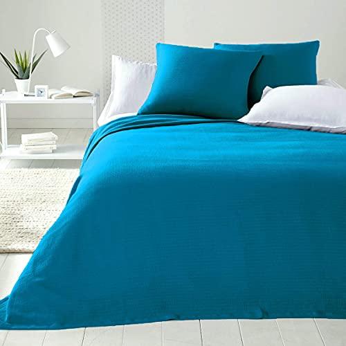 Tagesdecke aus Baumwolle für Doppelbett, bügelfrei, für französisches Bett, Doppelbett, handgefertigt, für Frühling & Sommer