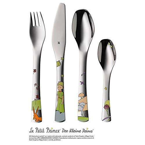 WMF El Principito - Cubertería para niños 4 piezas (tenedor, cuchillo de mesa, cuchara y cuchara pequeña) (WMF Kids infantil)