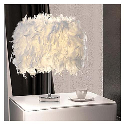 Lámpara De Mesa Escritorio Pluma sombra metálica lámpara de mesa escritorio vintage noche luz decoración de navidad suave vintage habitación sala de estudio blanco