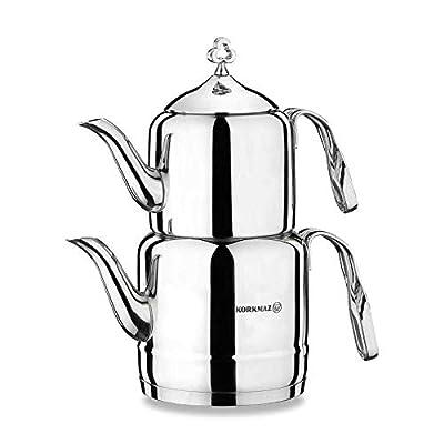 Korkmaz Cintemani Turkish Tea Pot Set for Stove Top, Stainless Steel Double Turkish Teapot Set with Stainless Steel Handle, Samovar Style Tea Kettle Set, 3.3 qt