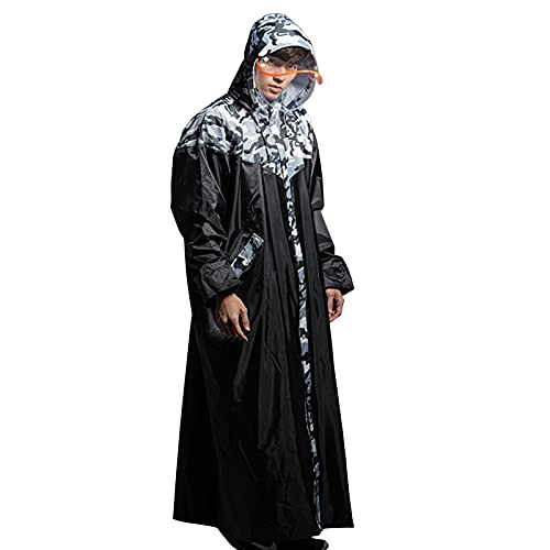 TBATM Reusable Long Sleeve Rain Coat, Waterproof Windproof Portable Hood Drawstring EVA Raincoat with Reflective Stripes for Hiking Camping Festivals Outdoor,XL