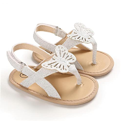 Yililay Zapatos Forma niña de Sandalias Animal Color sólido de la PU del Cuero del Clip del Dedo del pie Antideslizante Soles de Verano para los bebés Blancos 6-12M