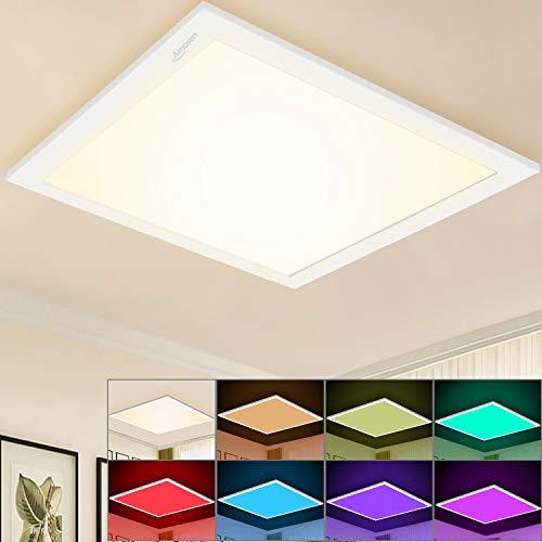 RGB Dimmbar LED Deckenleuchte Panel 30x30 cm, Quadrat Unterputz Deckenlampe mit 8 Farbwechsel und 3000K WarmWeiß, Lampenpanel für Büro Kinderzimmer Schlafzimmer Wohnzimmer Innendekoration Beleuchtung