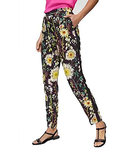 Aniston Stoff-Hose floral Bedruckte Schlupf-Hose in Regular Fit Sommer-Hose Strand-Hose Schwarz, Größe:36