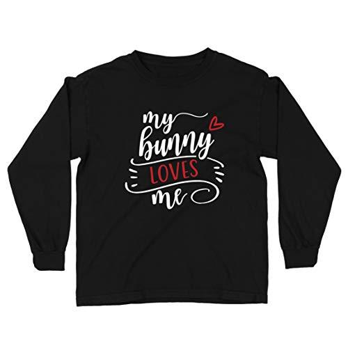 lepni.me Kinder-T-Shirt mit Langen Ärmeln Mein Hase liebt Mich süß Haustierliebhaber Frohe Ostern Outfit (12-13 Years Schwarz Mehrfarben)