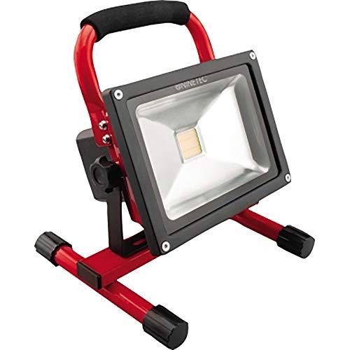 NINETEC 20W LED Flutlicht Fluter Lampe Außen Strahler kabellos Baustrahler Akku-Strahler tragbar Rot