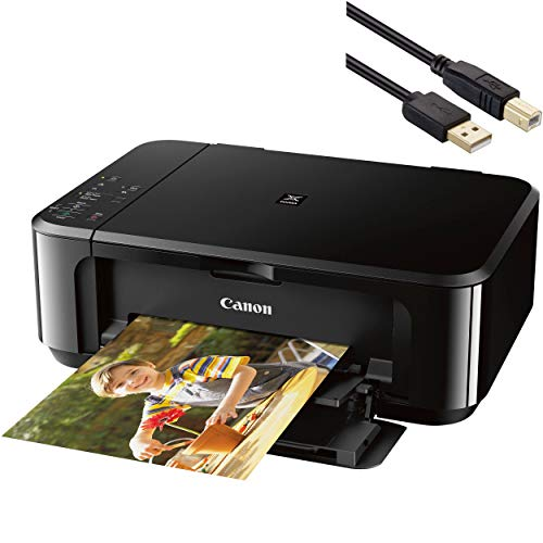 Canon Pixma MG 3000 Series Wireless All-In-One Color Inkjet Printer - Print, Scan, and Copy for Home Business Office, 4800 x 1200 Resolution Auto Duplex, WiFi - Black - BROAGE 4 Feet USB Printer Cable