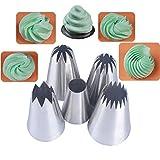 BLUGUL Set di 5 Beccucci Grandi, Decorazione Torte Set, Bocchette Decorative Accessori per Cupcakes, Pasta di Zucchero, Pasticceria