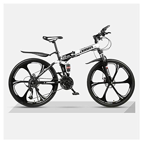 COSCANA 26' Bicycle Mountain Bike 21-27 Speed Bicycle Folding Mountain Bike 17' Frame Full Suspension Mountain Bike 6 Spoke Wheels BicycleBlack-24 Speed