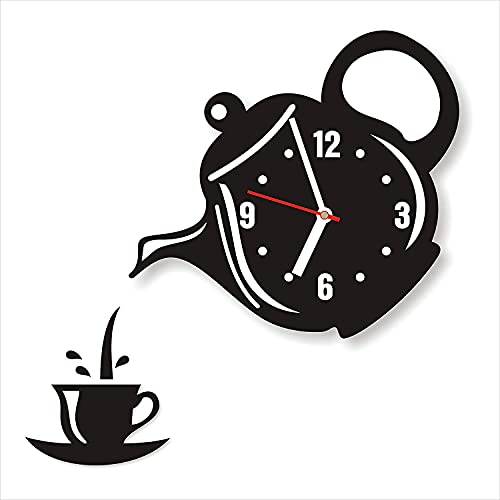AERINA ACRYLIC WORLD 3D Tea Pot & Cup Designer Acrylic Wall Clock Design, for Living Room, Bedroom Wall, Home and Office (Made in India) (Kettle D)