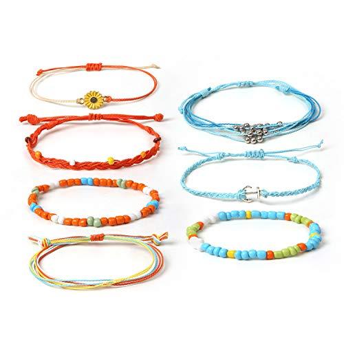 7-PCS String Bracelet Anklet, Summer Sunflower Braided Rope Charms Boho Surfer Bracelet for Teen Girls Women