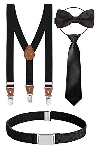 BomGuard 4er kinder-hosenträger schwarz schwarze schleife 1-5 Jahre 12 jungs 1-8 Jahre kinder-gürtel kinder-fliege kinderkrawatte krawatte
