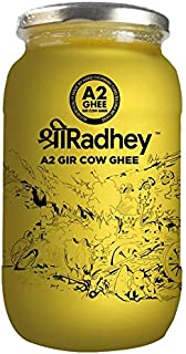 Shree Radhey Certified A2 Gir Cow Ghee - Gluten Free - (Traditionaly Hand Churned) 1000 ml