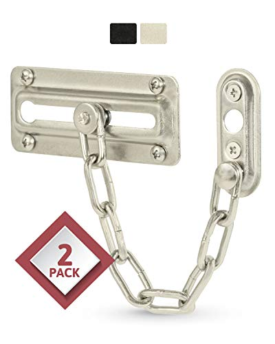 Jack N' Drill Chain Door Guard - 2 Pack Chain Door Lock for Home Security, Sturdy and Rust-Resistant Steel Chain Locks for Inside Door and Extra Front Door Lock, 100% Child Safe and Pet Friendly