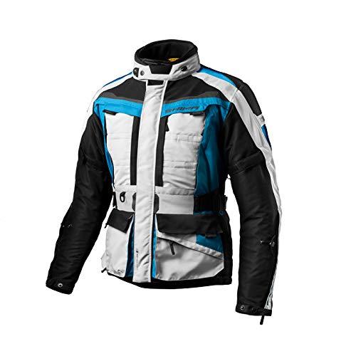 SHIMA Herren Wasserdicht Reisen Entlüftet Motorradjacken Rückenprotektor, Blau, Größe XL