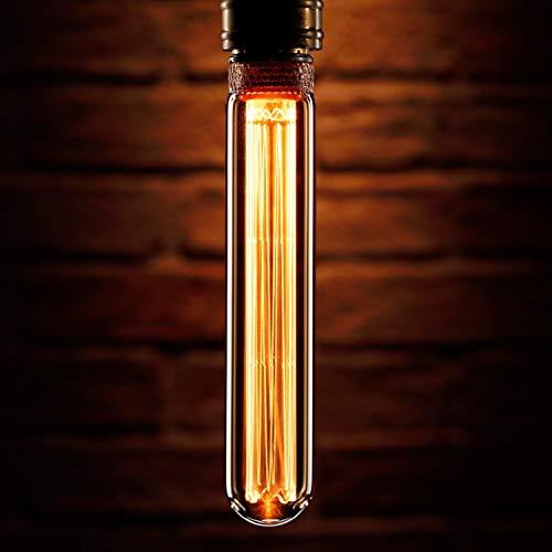 Auraglow Mysa Lampadina LED - Effetto Filamento Vintage Decorativo con Rivestimento Anti-Abbagliamento in Rame - E27 Forma del tubo T30