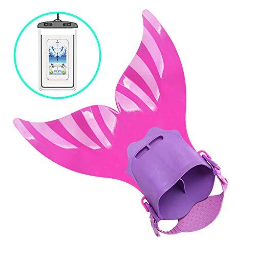 AmazeFan Mermaid Swim Tail Fins for Kids, Fin Mermaid Fun Improved Strap Swimwear Monofin, Swimming with Flipper Diving Fins-Girls (Pink)