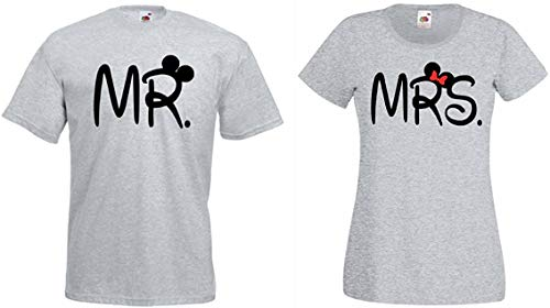 T-Shirt Mr. & Mrs. Mister & Misses - Herren Shirt Grau Gr. XXL