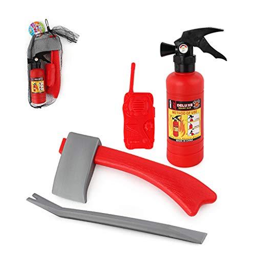 siwetg 4 stks/set kinderen brandweerman brandweerman cosplay speelgoed kit brand brandblusser intercom bijl moersleutel geschenken voor kinderen