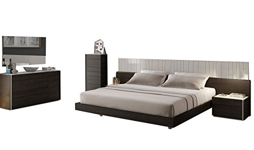 J&M Furniture Porto Light Grey Lacquer with Wenge Veneer Queen Size Bedroom Set