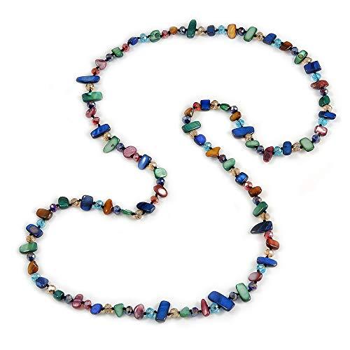 Collana lunga multicolore con pepite di conchiglia e perline di cristallo in vetro, lunghezza 110 cm
