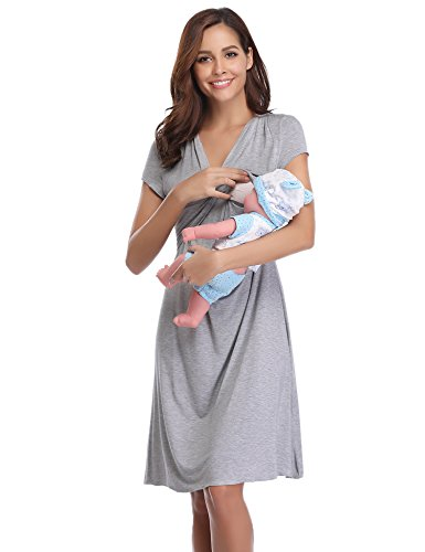 Aibrou Camison Lactancia Manga Corta Pijama Lactancia Algodon Camisón Premamá Verano Camisones Embarazada Hospital