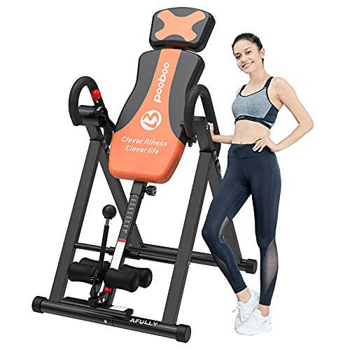 pooboo Inversion Table for Back Pain Relief Heavy Duty Foldable Back Stretcher Machine for Pain Therapy Training (Yellow Black)