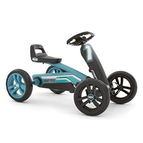 Enfants Kart Pédale Vélo Kart À Quatre Roues Porte-bébé Jouet Poussette Racing Volant Design Seat 3 Réglable, Puissant La Propulsion Arrière (Color : BLUE, Size : 83 * 49 * 50CM)