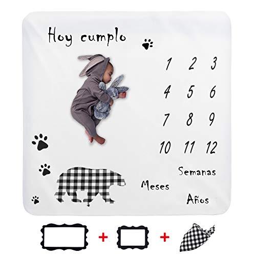 JMITHA Manta para bebé con diseño de hito mensual, fondo de fotos de Navidad, manta para envolver bebés Número de bebé (e-oso) 100x100cm
