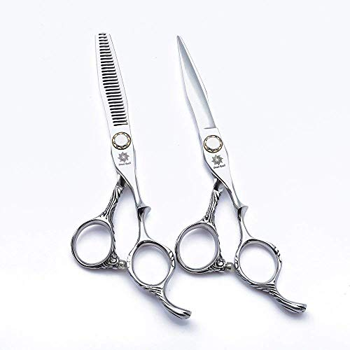 SEESEE.U 6.0 inches Hair Cutting Scissors/Thinning Shears,Barber Hairdressing Scissor Kit-Japanese 440C Stainless Steel Hair Scissors Set,Hair Stylist Clipping Shears Tool with Bearning Bolt