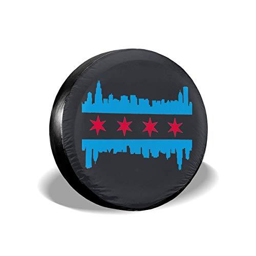 GFHTH Cubierta de llanta de Repuesto a Prueba de Polvo y Resistente al Agua de Estilo Moderno, Cubiertas de Llantas universales con Bandera de Chicago para, remolques, vehículos Todo Terreno, camione