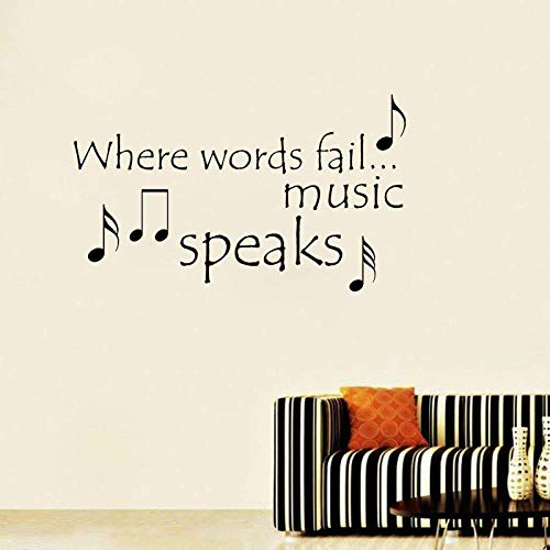 Wall Stickers for Living Room Bedroom Home Decoration Wall Decor Art Decals Wallpaper Where Words Fail Music Speaks Quote Inspirational PVC 66x39.2cm