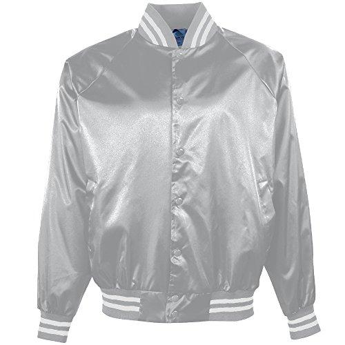 Augusta Sportswear Men's Satin Baseball Jacket/Striped Trim L Metallic Silver/White