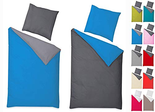 Naturawalk Renforcé Bettwäsche aus 100% BIO Baumwolle mit Reissverschluss, 135x200 + 80x80 cm - Grösse 2 tlg. 135x200cm, 80x80 cm, Farbe Anthrazit/Maliblau