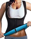 DoLoveY Women Neoprene Sauna Vest Waist Trainer Hot Sweat Slim Corset Body Shaper with Zipper Workout Tank Top