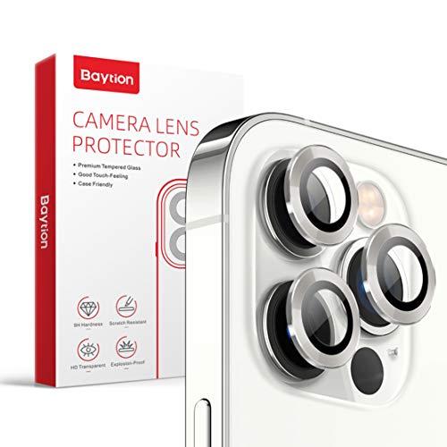 Baytion [3 pezzi] pellicola fotocamera iphone 12 Pro, vetro fotocamera a 360 gradi in lega di alluminio [antigraffio] [Colore originale]-Argento