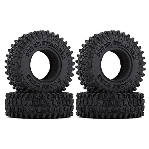 INJORA 1.0 Crawler Tires Micro Soft Rubber Tires for 1/24 RC Crawler Car Axial SCX24 90081 AXI00002 Deadbolt,4Pcs