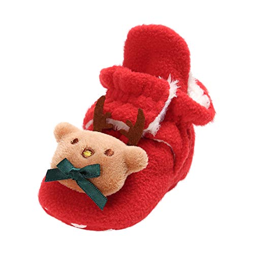 Christmas Infant Baby Girl Boys Plus Velvet Cotton Shoes Wild Comfortable Snow Boots Toddler Shoes (Red, Age:0~6 M)