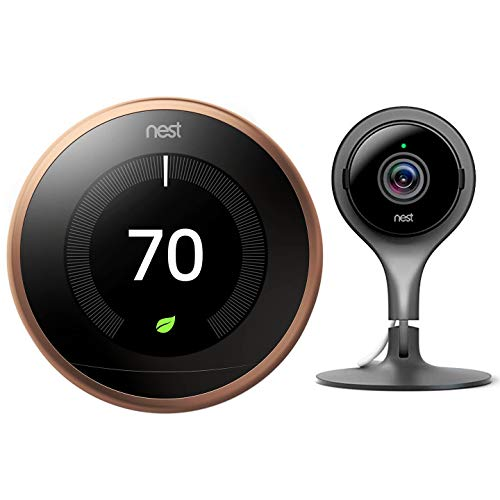 Google Nest Learning Smart Thermostat - 3rd Generation - Copper T3021US Bundle with Nest Cam Indoor Smart Security Video Camera NC1102ES