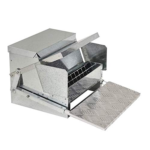 Automatic Chicken Poultry Feeder with a Galvanized Steel and Aluminium Build, Weatherproof Design Bird Prevention for Chickens, Pheasants, or Roosters