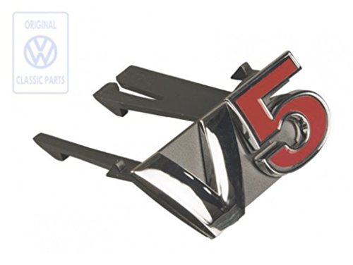 V5 Emblem für den Bora und Varianten Kühlergrill Frontgrill in Rot Schwarz Chrom Stoßstange Front Vorn Original Design