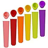 Homemade Ice Pop molds,Hand-Held Silicone Popsicle Molds with Attached Lids,Multi Colors Set of 6