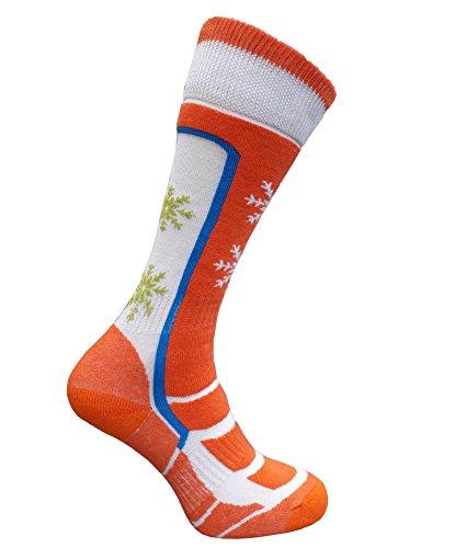 eXPANSIVE Ski Chaussettes Techniques Hiver Laine Merino Femme Orange/Blanc [364], Orange, UK 2.5-5 / EU 35-38
