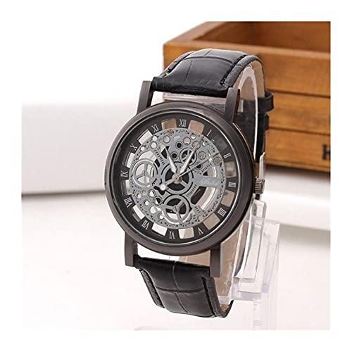 GKXAZ Mode-Geschäfts-Skelett-Uhr-Mann-Stich Hohl Kleid Quarz-Armbanduhr-Leder-Band-Frauen Uhr (Color : Black)